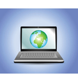 laptop with earth globe vector image