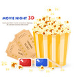 popcorn 3d glasses and movie tickets vector image