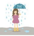sad young girl in the rain with an umbrella vector image