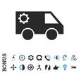 Service Car Flat Icon With Bonus vector image