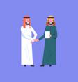 two arab businessman handshake arabic business man vector image