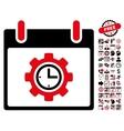 Time Gear Calendar Day Flat Icon With Bonus vector image
