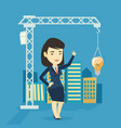 woman pointing at idea bulb hanging on crane vector image