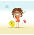 Happy tourist with tickets and suitcase for your vector image vector image
