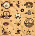 coffee label emblems collection vector image vector image