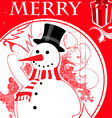 vintage snowman background vector image vector image
