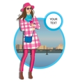 young women in a hat casual clothes on city vector image
