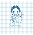 Boy archer with bow in sketch sryle vector image