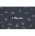 Cinema Thin Line Icons vector image
