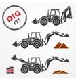 Excavator silhouettes vector image