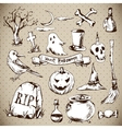 Set of Doodles Design Halloween Elements vector image