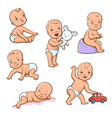 set with cute little babies vector image