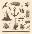 Vintage sea set vector image