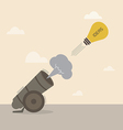 Lightbulb idea is launched from big cannon vector image