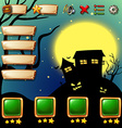 Game template with halloween background vector image
