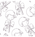 Outline cake pops with bow seamless pattern vector image vector image