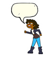 cartoon angry biker girl with speech bubble vector image