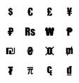 black currency symbols set vector image