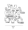 English hand drawn funky font from j to q vector image
