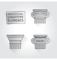 linear icons Columns Flat with long shadows vector image