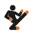 simple flying kick karate sport figure symbol vector image