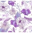 Vintage garden flowers seamless pattern vector image