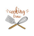 Whisk or kitchen cooking stuff for menu vector image
