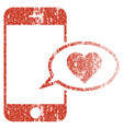 smartphone love message grunge texture icon vector image