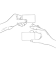 Man hands holding a blank cards outline contour vector image