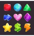 Colorful glossy shapes icons set vector image