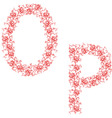 Hand drawing ornamental alphabet letter op vector image