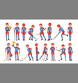 modern ice hockey player different poses vector image