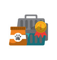 pet travel carrier bag and food vector image