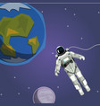 ute astronaut with planet and stars in space vector image