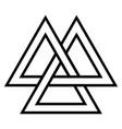 valknut viking age symbol geometric design vector image