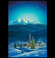 Winter rural holiday landscape vector image