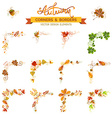 set of autumn leaves design elements vector image