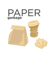 Crumpled paper garbage in rubbish bin Recycle vector image