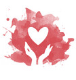 heart and hands silhouette vector image