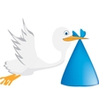 A stork is carrying a baby vector image