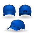 blue baseball cap set front side view isolated vector image