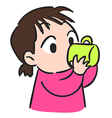 Cute little girl drinking water from glassisolate vector image