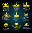 luxury crown vintage monogram logos set vector image vector image