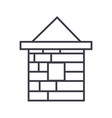 brick house line icon sign vector image