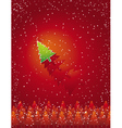 christmas card with forest of tree vector image