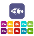 cute clown fish icons set vector image