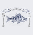 fish restaurant banner with crucian carp vector image
