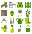 Flat design set of gardening tool icons vector image