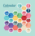 2017 Calendar Calendar Hexagon geometric vector image