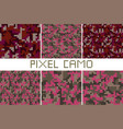pixel camo seamless pattern big set green forest vector image